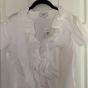 Loft white ruffled collar blouse.